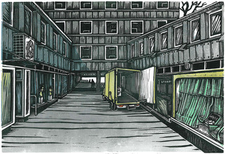 Downtown Courtyard, Klosterwall (linocut, 2011)