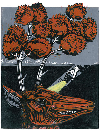 The Heavenly Stag (linocut, 2010)