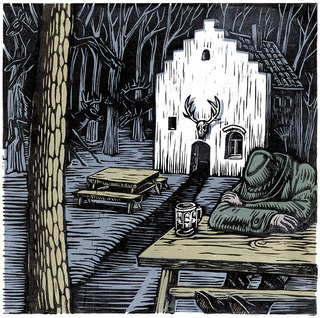 Tavern in the Woods (linocut, 2009)