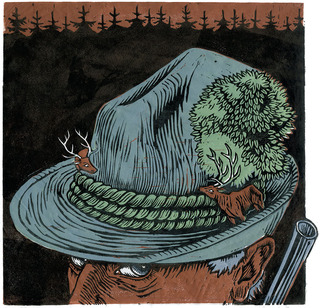 Hunter's Hat (linocut, 2009)