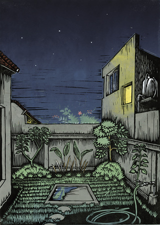 Balinese Night (linocut, 2008)